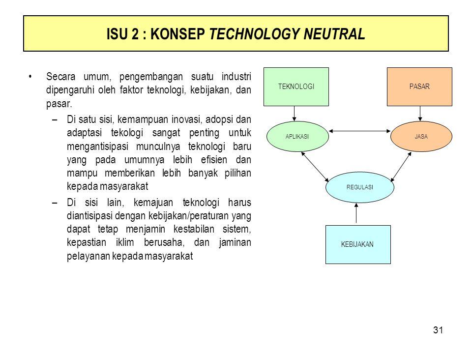 31 ISU 2 : KONSEP TECHNOLOGY NEUTRAL Secara umum, pengembangan suatu industri dipengaruhi oleh faktor teknologi, kebijakan, dan pasar. –Di satu sisi,