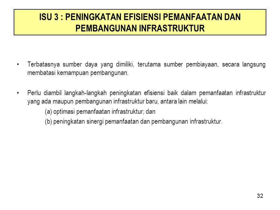 32 ISU 3 : PENINGKATAN EFISIENSI PEMANFAATAN DAN PEMBANGUNAN INFRASTRUKTUR Terbatasnya sumber daya yang dimiliki, terutama sumber pembiayaan, secara l