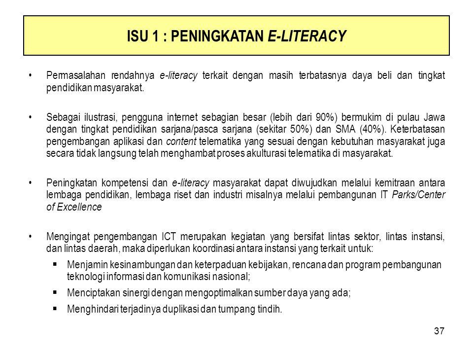 37 Permasalahan rendahnya e-literacy terkait dengan masih terbatasnya daya beli dan tingkat pendidikan masyarakat. Sebagai ilustrasi, pengguna interne