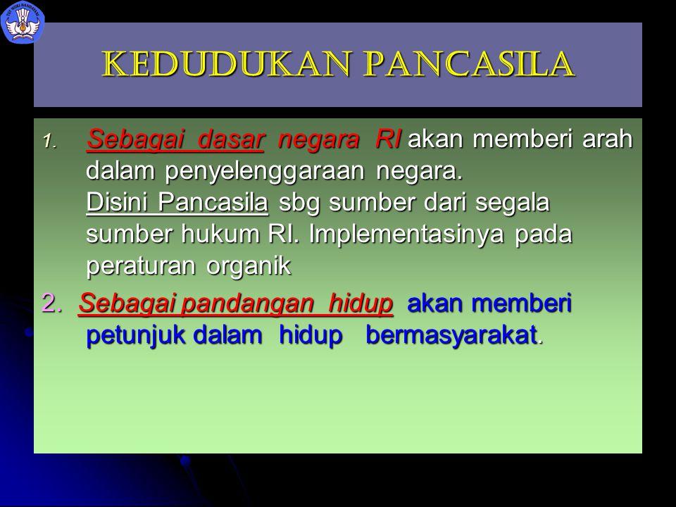 Kedudukan Pancasila 1. Sebagai dasar negara RI akan memberi arah dalam penyelenggaraan negara. Disini Pancasila sbg sumber dari segala sumber hukum RI