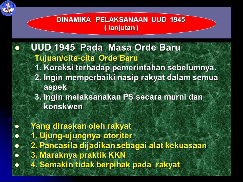 UUD 1945 Pada Masa Orde Baru UUD 1945 Pada Masa Orde Baru Tujuan/cita-cita Orde Baru Tujuan/cita-cita Orde Baru 1. Koreksi terhadap pemerintahan sebel