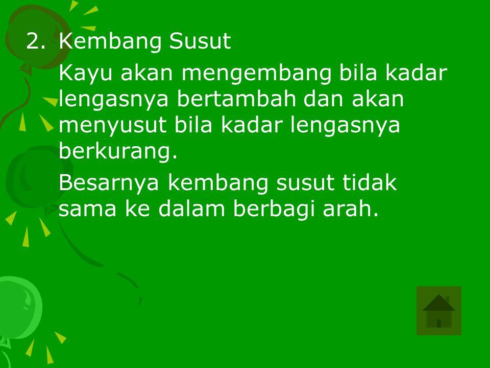 2.Kembang Susut Kayu akan mengembang bila kadar lengasnya bertambah dan akan menyusut bila kadar lengasnya berkurang. Besarnya kembang susut tidak sam