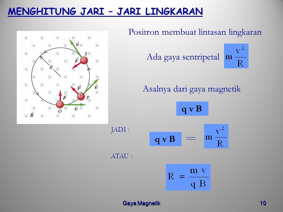 Gaya Magnetik9 POSITRON MASUK MEDAN MAGNETIK B UNIFORM Misalkan positron masuk medan magnetik yang densitas fluksnya 10 T dengan kecepatan 3. 10 7 m/s