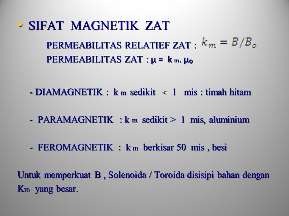 1. Kawat solenoida panjang 1. Kawat solenoida panjang l = panjang kawat μ 0 = 12,56x10 -7 Wb/A.m 2. Kawat toroida