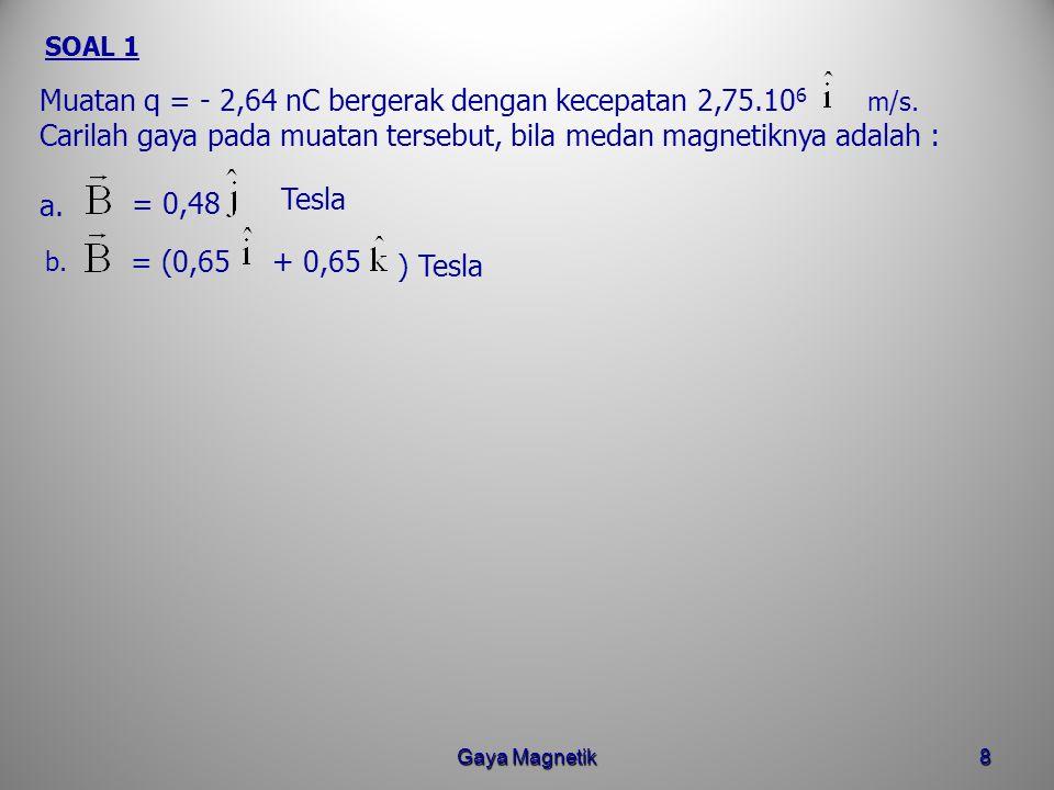 Gaya Magnetik7 Gaya magnetik ( Gaya Lorentz) yang bekerja pada muatan q adalah : BESARNYA : F = q v B sin  q bergerak dalam medan magnetik dengan kec