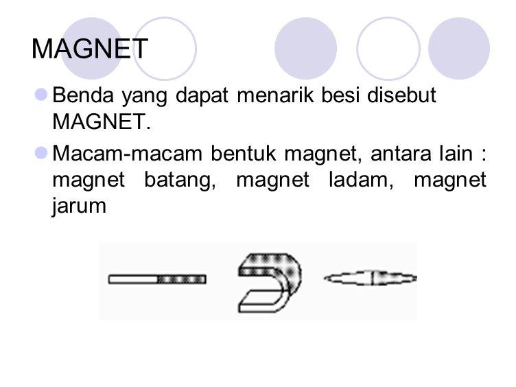 MAGNET Benda yang dapat menarik besi disebut MAGNET.