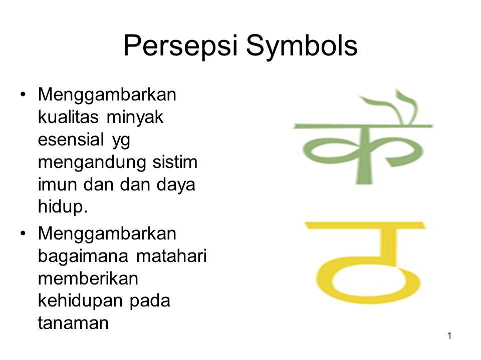 1 Persepsi Symbols Menggambarkan kualitas minyak esensial yg mengandung sistim imun dan dan daya hidup.
