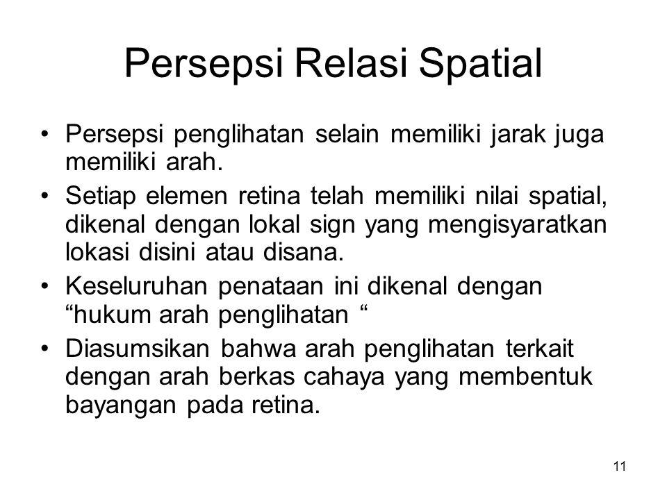 11 Persepsi Relasi Spatial Persepsi penglihatan selain memiliki jarak juga memiliki arah.