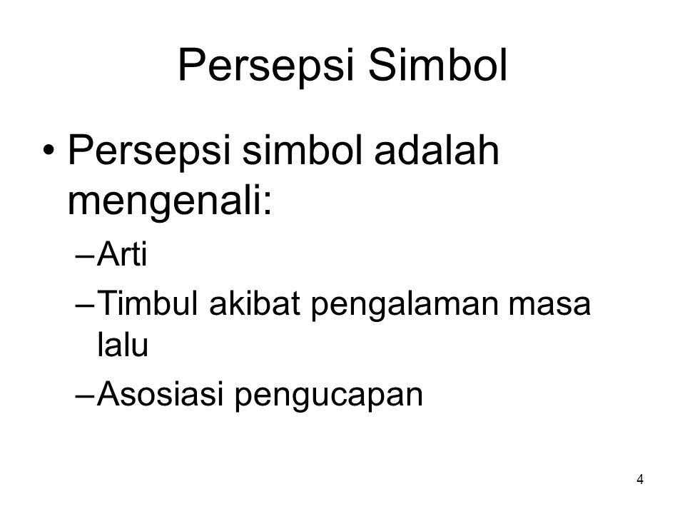 4 Persepsi Simbol Persepsi simbol adalah mengenali: –Arti –Timbul akibat pengalaman masa lalu –Asosiasi pengucapan