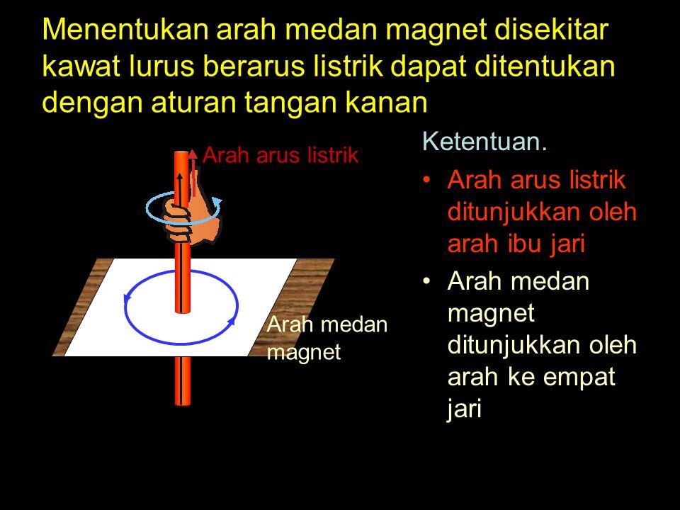 Menentukan arah medan magnet disekitar kawat lurus berarus listrik dapat ditentukan dengan aturan tangan kanan Ketentuan. Arah arus listrik ditunjukka