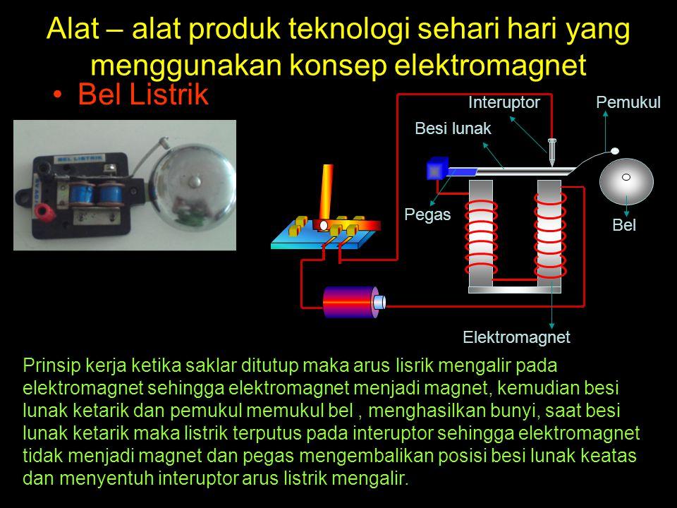 Alat – alat produk teknologi sehari hari yang menggunakan konsep elektromagnet Bel Listrik Interuptor Elektromagnet Bel Pemukul Besi lunak Pegas Prins