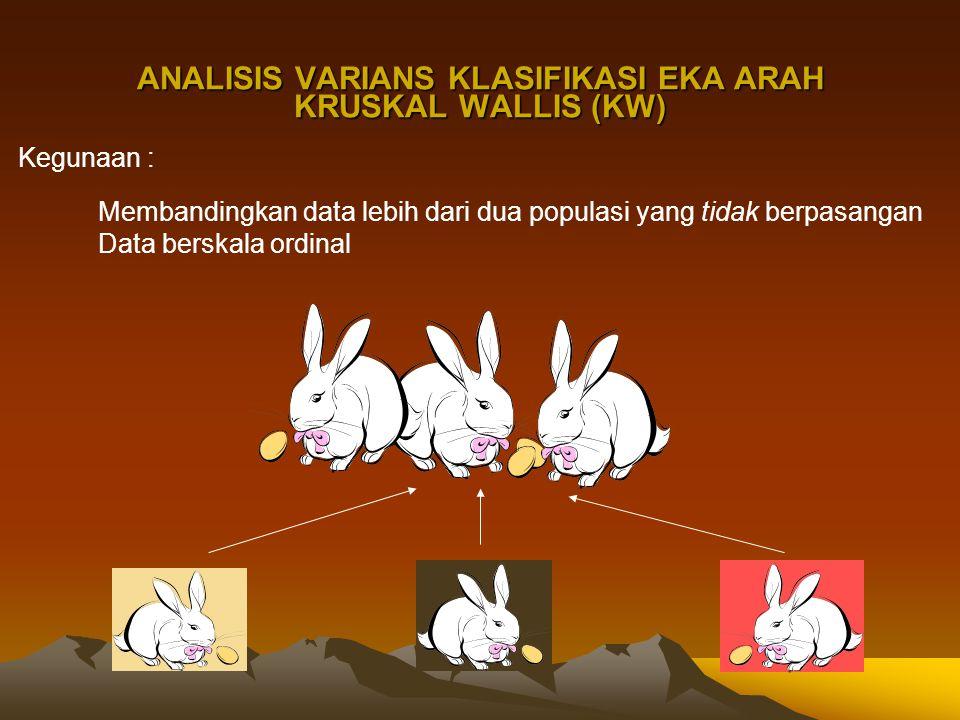 ANALISIS VARIANS KLASIFIKASI EKA ARAH KRUSKAL WALLIS (KW) Kegunaan : Membandingkan data lebih dari dua populasi yang tidak berpasangan Data berskala o