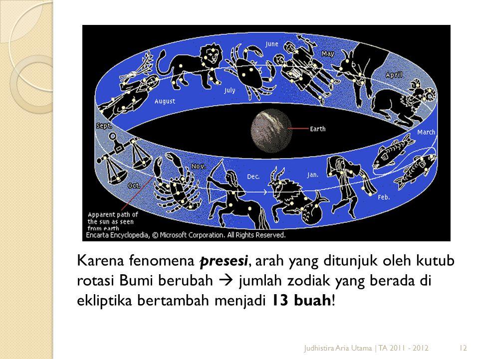 12Judhistira Aria Utama | TA 2011 - 2012 Karena fenomena presesi, arah yang ditunjuk oleh kutub rotasi Bumi berubah  jumlah zodiak yang berada di ekl