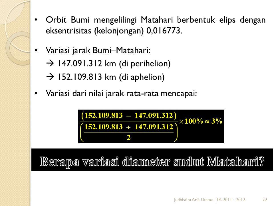 22Judhistira Aria Utama | TA 2011 - 2012 Orbit Bumi mengelilingi Matahari berbentuk elips dengan eksentrisitas (kelonjongan) 0,016773. Variasi jarak B