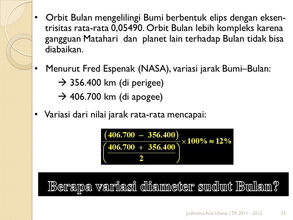 23Judhistira Aria Utama | TA 2011 - 2012 Orbit Bulan mengelilingi Bumi berbentuk elips dengan eksen- trisitas rata-rata 0,05490. Orbit Bulan lebih kom