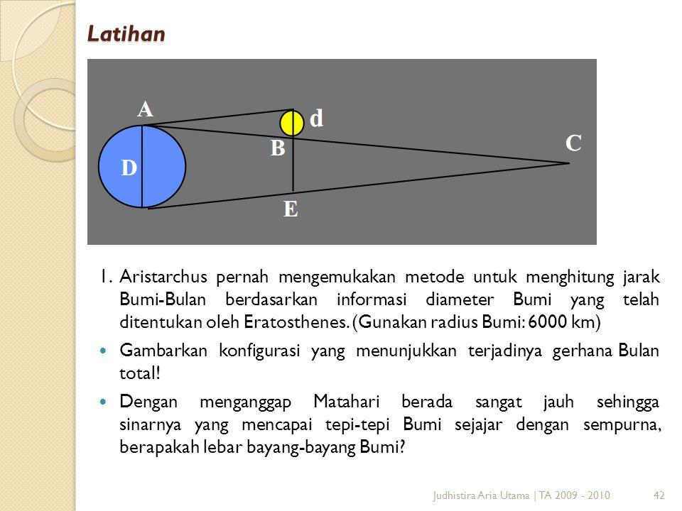 Latihan 1.Aristarchus pernah mengemukakan metode untuk menghitung jarak Bumi-Bulan berdasarkan informasi diameter Bumi yang telah ditentukan oleh Erat