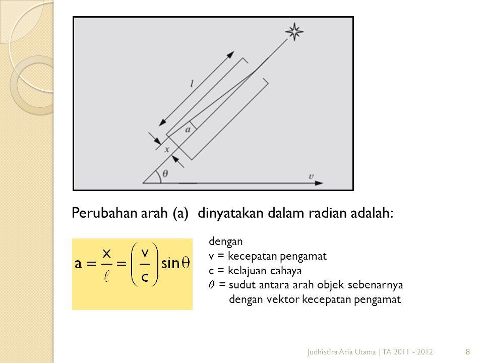 8Judhistira Aria Utama | TA 2011 - 20128 Perubahan arah (a) dinyatakan dalam radian adalah: dengan v = kecepatan pengamat c = kelajuan cahaya  = sudu