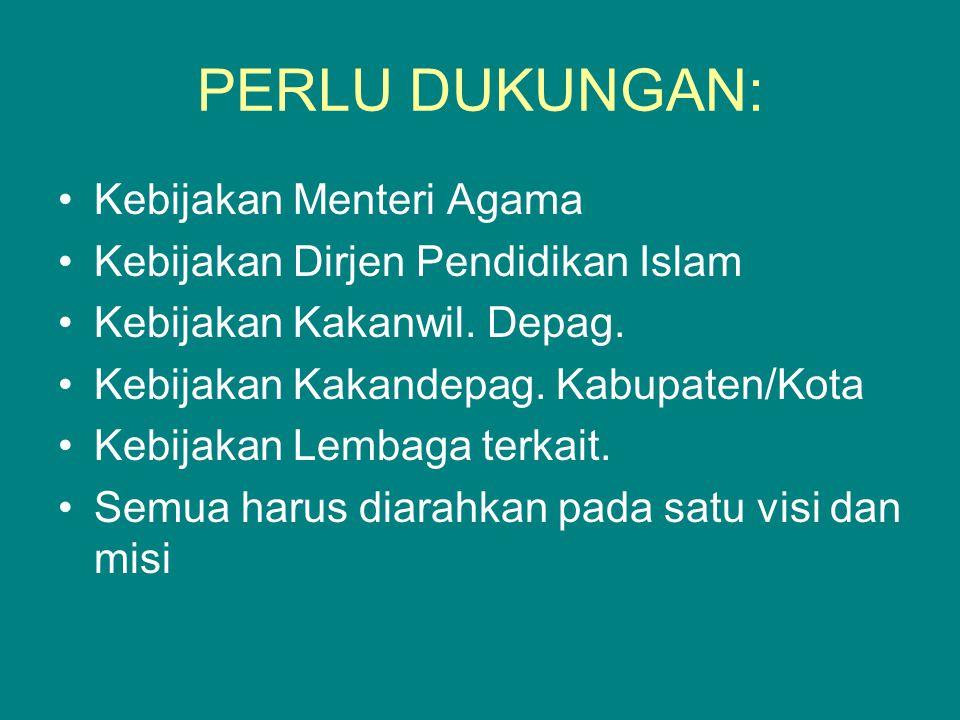 PERLU DUKUNGAN: Kebijakan Menteri Agama Kebijakan Dirjen Pendidikan Islam Kebijakan Kakanwil.