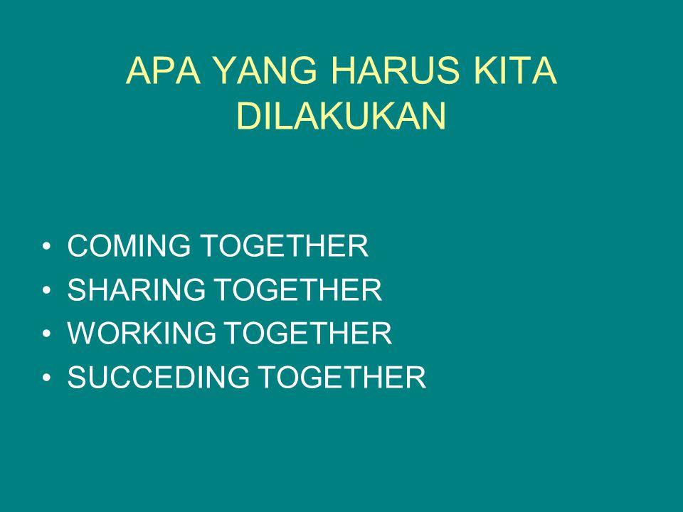 APA YANG HARUS KITA DILAKUKAN COMING TOGETHER SHARING TOGETHER WORKING TOGETHER SUCCEDING TOGETHER