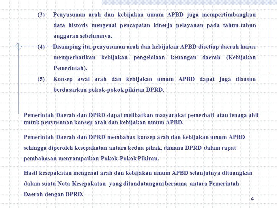 3 I. Penyusunan Arah Kebijakan Umum RAPBD Dalam rangka menyiapkan Rancangan APBD, Pemerintah Daerah bersama-sama DPRD menyusun Arah dan Kebijakan Umum