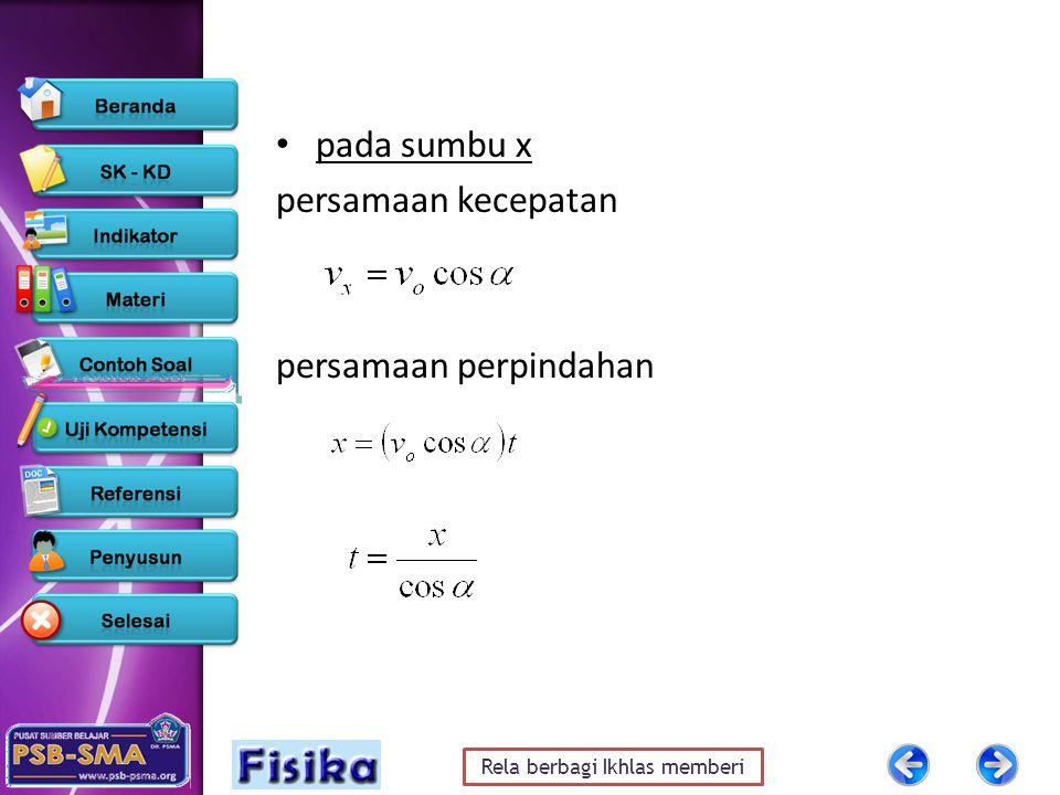 Rela berbagi Ikhlas memberi pada sumbu x persamaan kecepatan persamaan perpindahan