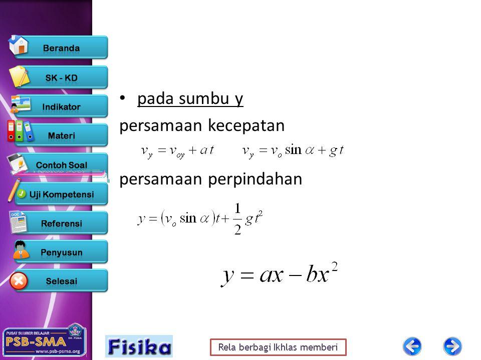 Rela berbagi Ikhlas memberi pada sumbu y persamaan kecepatan persamaan perpindahan