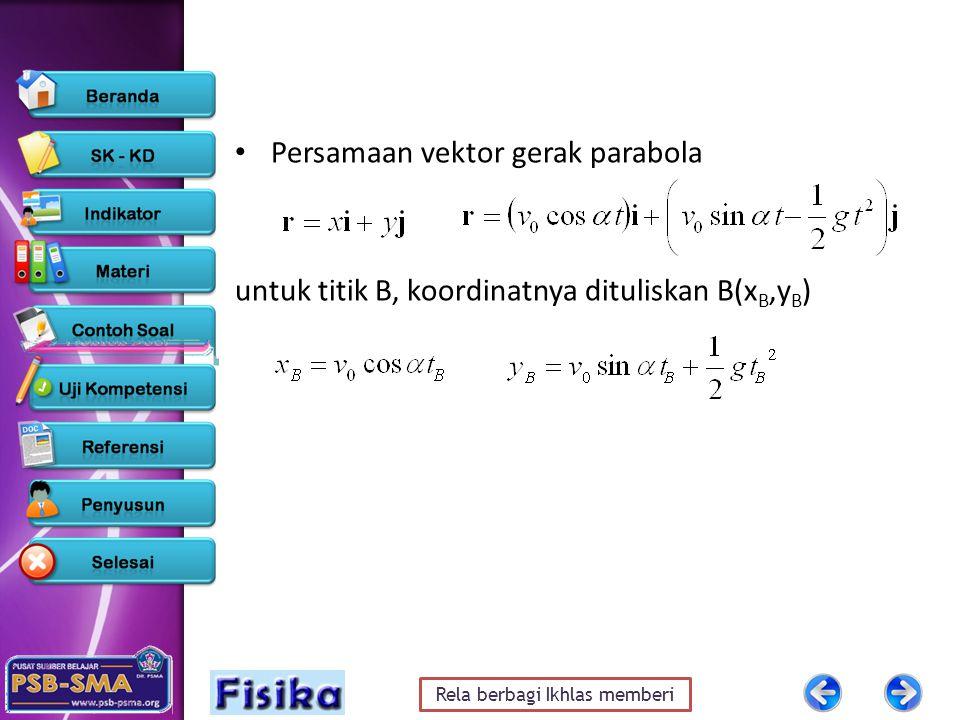 Rela berbagi Ikhlas memberi Persamaan vektor gerak parabola untuk titik B, koordinatnya dituliskan B(x B,y B )