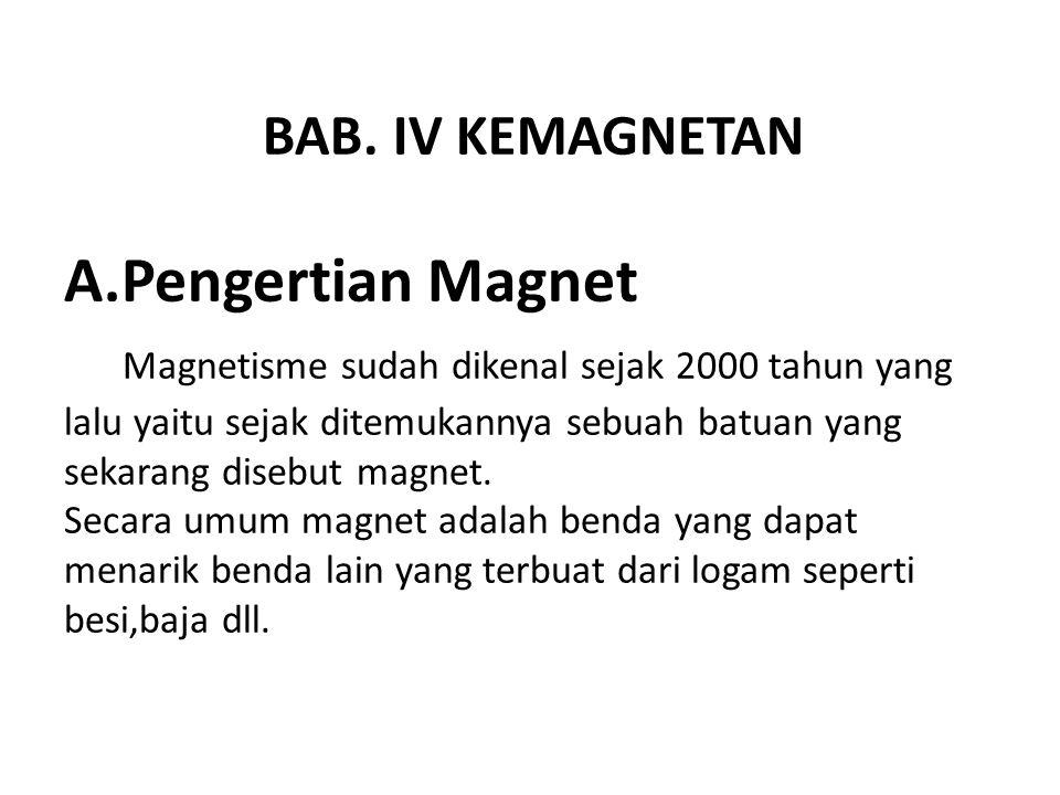 BAB. IV KEMAGNETAN A.Pengertian Magnet Magnetisme sudah dikenal sejak 2000 tahun yang lalu yaitu sejak ditemukannya sebuah batuan yang sekarang disebu