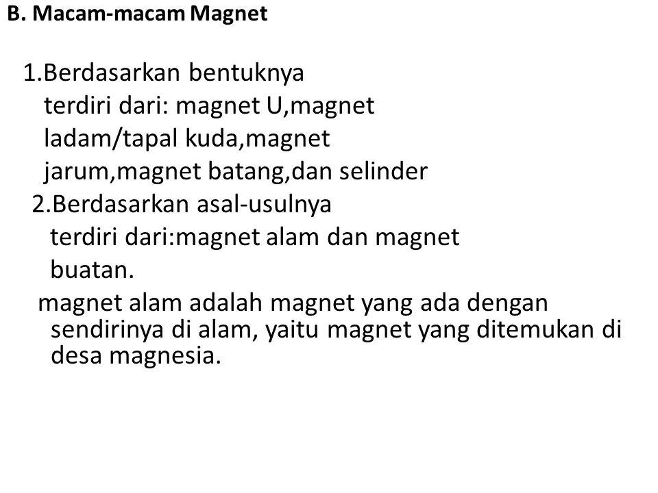 B. Macam-macam Magnet 1.Berdasarkan bentuknya terdiri dari: magnet U,magnet ladam/tapal kuda,magnet jarum,magnet batang,dan selinder 2.Berdasarkan asa