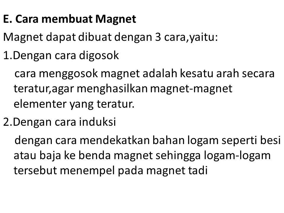 E. Cara membuat Magnet Magnet dapat dibuat dengan 3 cara,yaitu: 1.Dengan cara digosok cara menggosok magnet adalah kesatu arah secara teratur,agar men