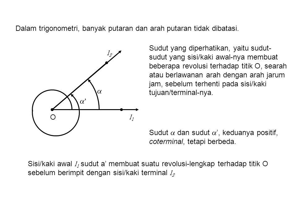 Dalam suatu sistem koordinat kartesius (rectangular), suatu sudut dikatakan dalam posisi standar, apabila titik sudutnya berimpit dengan pusat koordinat dan sisi/kaki awalnya berimpit dengan sumbu x positif.