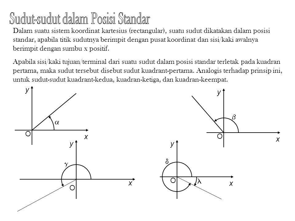 O A B  Sudut pusat:  =  AOB Apabila suatu lingkaran dibagi dalam 360 bagian yang sama, maka setiap sudut pusat yang berkaitan dengan satu bagian tersebut dikatakan mempunyai ukuran satu derajat, dinyatakan dengan 1 o.