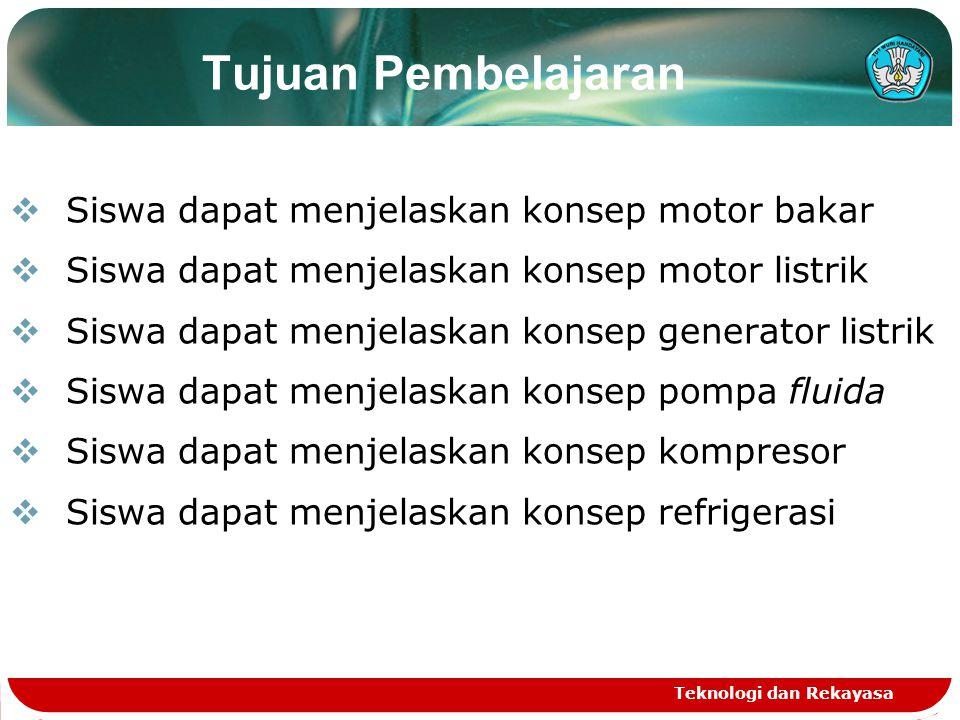 Teknologi dan Rekayasa Tujuan Pembelajaran  Siswa dapat menjelaskan konsep motor bakar  Siswa dapat menjelaskan konsep motor listrik  Siswa dapat m