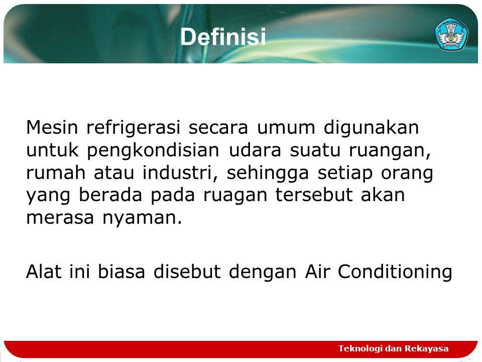 Teknologi dan Rekayasa Definisi Mesin refrigerasi secara umum digunakan untuk pengkondisian udara suatu ruangan, rumah atau industri, sehingga setiap