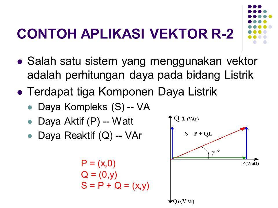 CONTOH APLIKASI VEKTOR R-2 Salah satu sistem yang menggunakan vektor adalah perhitungan daya pada bidang Listrik Terdapat tiga Komponen Daya Listrik D