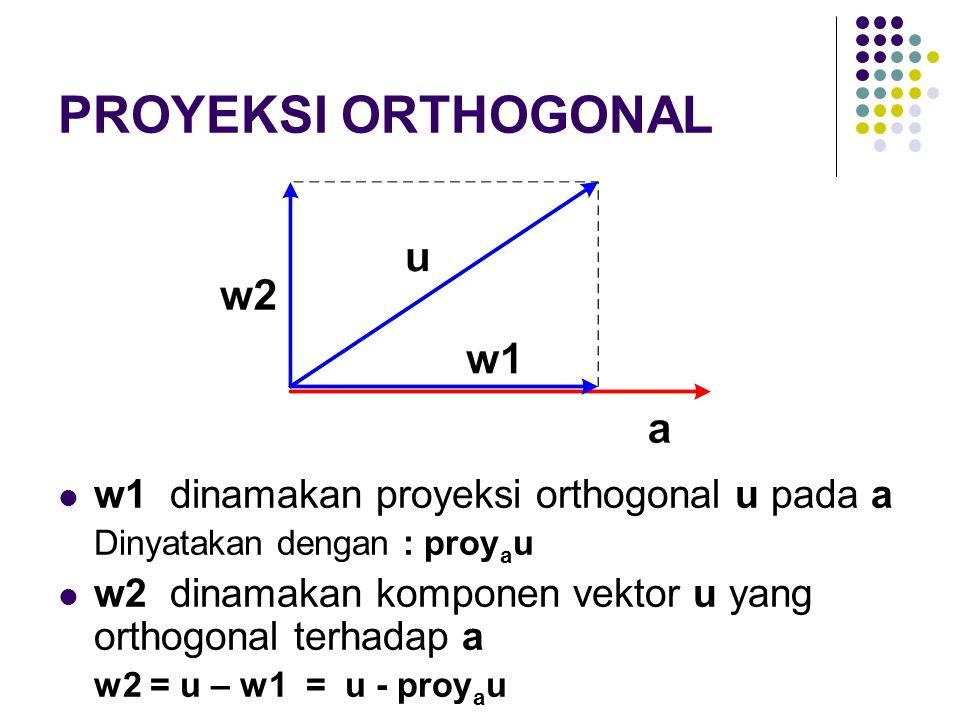 PROYEKSI ORTHOGONAL w1 dinamakan proyeksi orthogonal u pada a Dinyatakan dengan : proy a u w2 dinamakan komponen vektor u yang orthogonal terhadap a w
