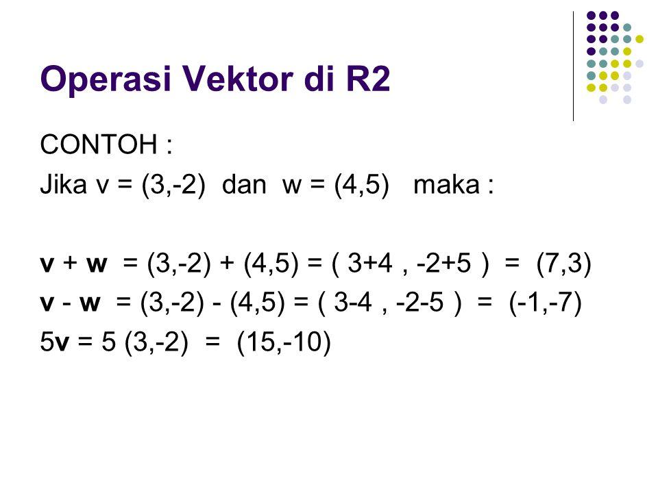 CONTOH : Jika v = (3,-2) dan w = (4,5) maka : v + w = (3,-2) + (4,5) = ( 3+4, -2+5 ) = (7,3) v - w = (3,-2) - (4,5) = ( 3-4, -2-5 ) = (-1,-7) 5v = 5 (