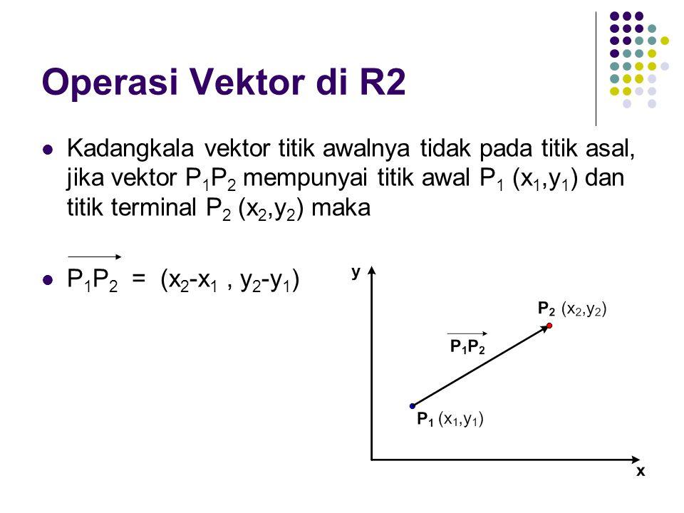 Kadangkala vektor titik awalnya tidak pada titik asal, jika vektor P 1 P 2 mempunyai titik awal P 1 (x 1,y 1 ) dan titik terminal P 2 (x 2,y 2 ) maka