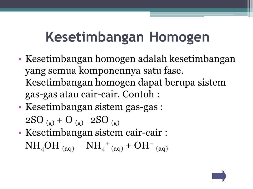 Kesetimbangan Homogen Kesetimbangan homogen adalah kesetimbangan yang semua komponennya satu fase. Kesetimbangan homogen dapat berupa sistem gas-gas a