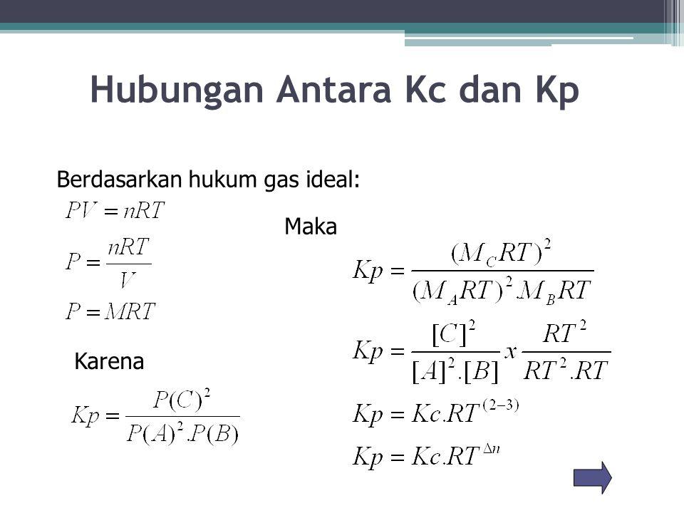 Hubungan Antara Kc dan Kp Berdasarkan hukum gas ideal: Karena Maka
