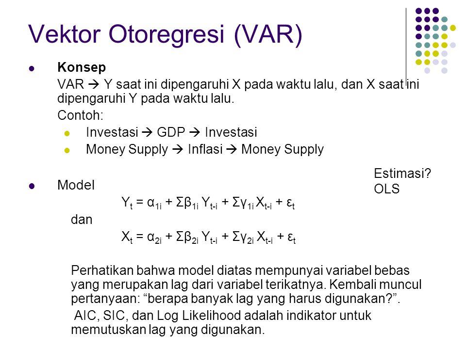 Vektor Otoregresi (VAR) Konsep VAR  Y saat ini dipengaruhi X pada waktu lalu, dan X saat ini dipengaruhi Y pada waktu lalu.