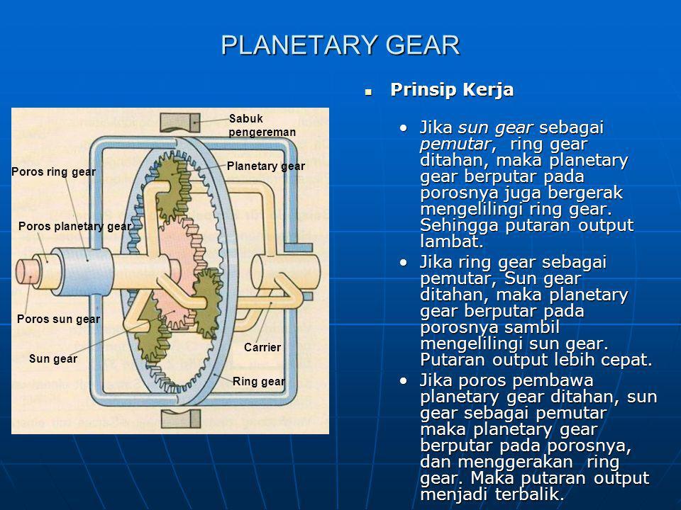 PLANETARY GEAR Prinsip Kerja Prinsip Kerja Jika sun gear sebagai pemutar, ring gear ditahan, maka planetary gear berputar pada porosnya juga bergerak
