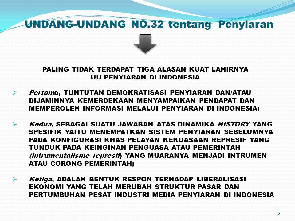UNDANG-UNDANG NO.32 tentang Penyiaran PALING TIDAK TERDAPAT TIGA ALASAN KUAT LAHIRNYA UU PENYIARAN DI INDONESIA  Pertama, TUNTUTAN DEMOKRATISASI PENY