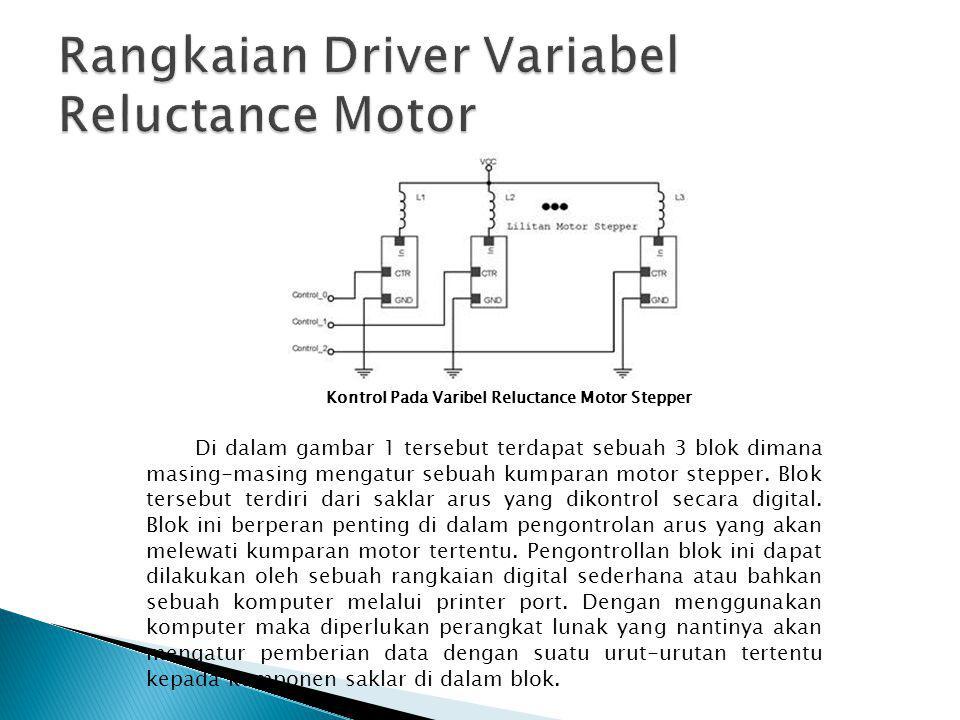 Kontrol Pada Varibel Reluctance Motor Stepper Di dalam gambar 1 tersebut terdapat sebuah 3 blok dimana masing-masing mengatur sebuah kumparan motor st