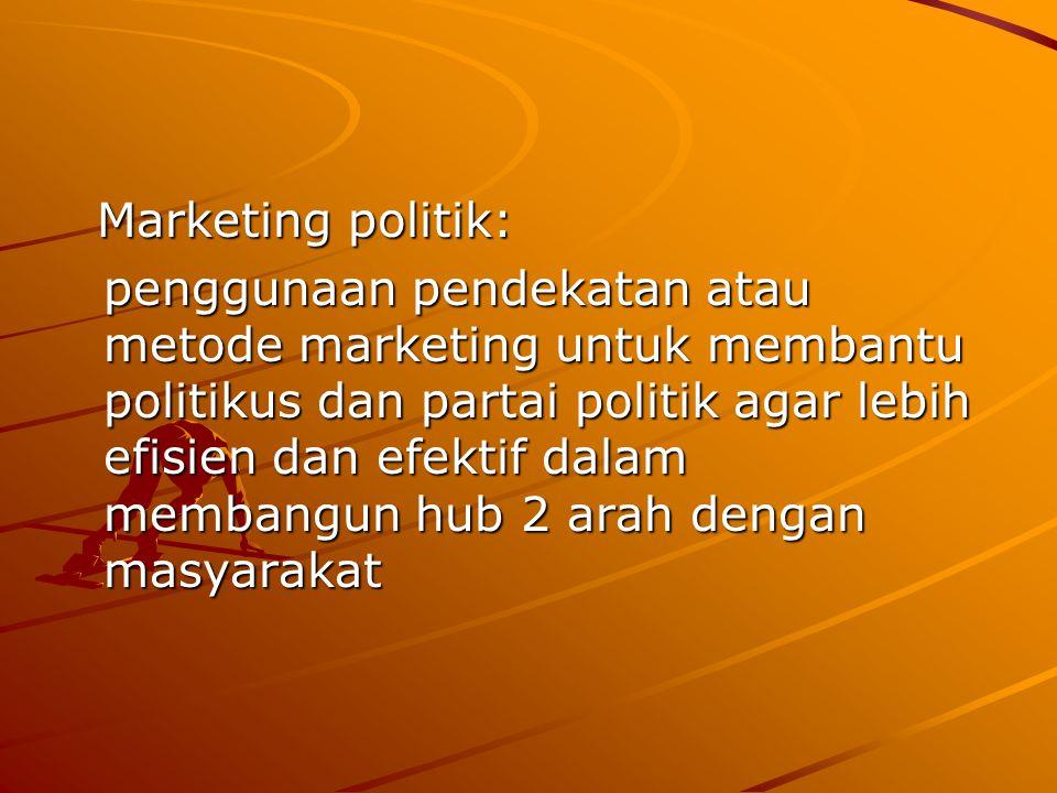 Marketing politik: Marketing politik: penggunaan pendekatan atau metode marketing untuk membantu politikus dan partai politik agar lebih efisien dan efektif dalam membangun hub 2 arah dengan masyarakat penggunaan pendekatan atau metode marketing untuk membantu politikus dan partai politik agar lebih efisien dan efektif dalam membangun hub 2 arah dengan masyarakat