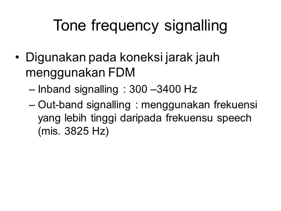 Tone frequency signalling Digunakan pada koneksi jarak jauh menggunakan FDM –Inband signalling : 300 –3400 Hz –Out-band signalling : menggunakan freku