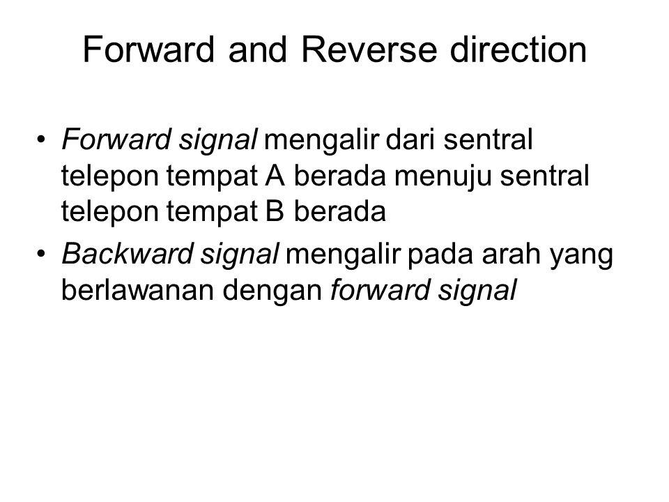Forward and Reverse direction Forward signal mengalir dari sentral telepon tempat A berada menuju sentral telepon tempat B berada Backward signal meng