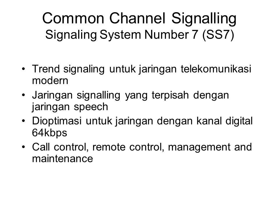 Common Channel Signalling Signaling System Number 7 (SS7) Trend signaling untuk jaringan telekomunikasi modern Jaringan signalling yang terpisah denga