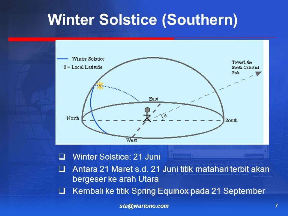 sta@wartono.com7 Winter Solstice (Southern)  Winter Solstice: 21 Juni  Antara 21 Maret s.d.