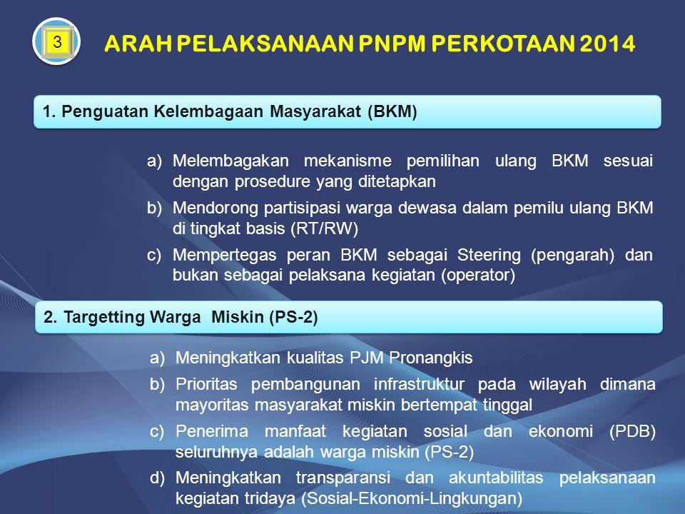 3 ARAH PELAKSANAAN PNPM PERKOTAAN 2014 1. Penguatan Kelembagaan Masyarakat (BKM) a)Melembagakan mekanisme pemilihan ulang BKM sesuai dengan prosedure